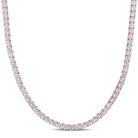 46 1/3 CT TGW Cubic Zirconia Tennis Necklace in Rose Plated Sterling Silver