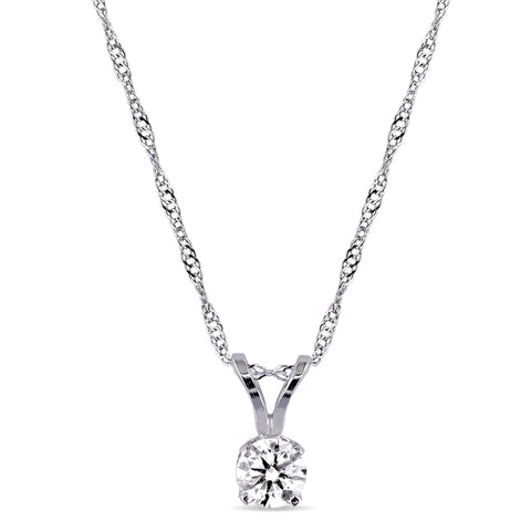 1/4 CT TW Diamond Solitaire Pendant with Chain in 14k White Gold