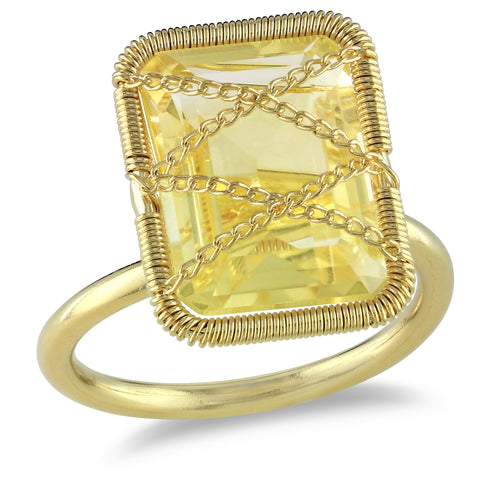 7 1/5 CT TGW Emerald Cut Citrine Crisscross Ring in Yellow Plated Sterling Silver