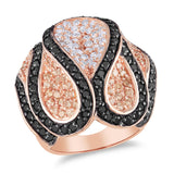 Pink Plated Silver 2mm White & Black Cubic Zirconia 5 3/4ct TGW Ring, w/Black Rhodium Plating