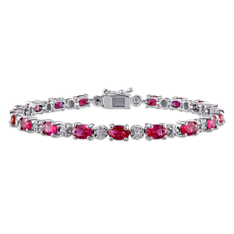 13 1/2 CT TGW Created Ruby and Diamond Bracelet in Sterling Silver