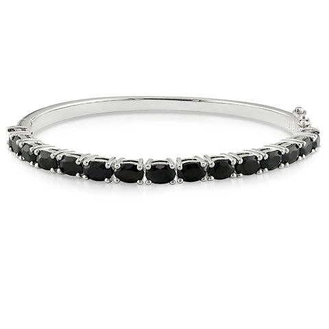 9-1/3 CT TGW Oval-Cut Black Sapphire Bangle in Sterling Silver