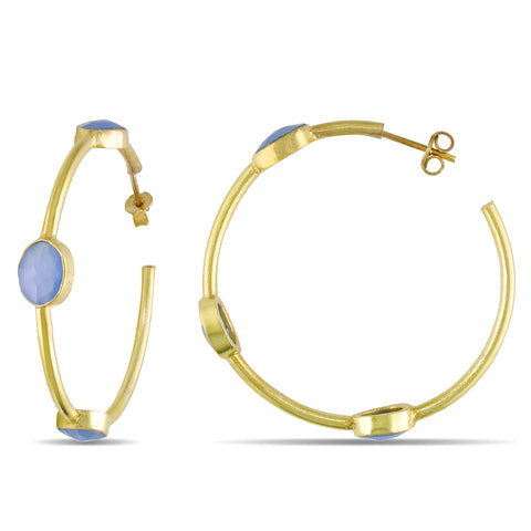 22k Yellow Gold Plated Silver 10ct TGW 9x7mm Oval Blue Onyx Earrings
