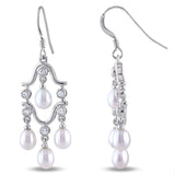 STERLING SILVER CHANDELIER EARRINGS WITH (0.28 ct tgw) 1.5MM RD CZ & 4-4.5MM Freshwater Cultured RICE PEARLS