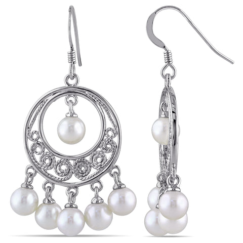 STERLING SILVER CHANDELIER EARRINGS WITH 5-5.5mm Freshwater Cultured PEARLS