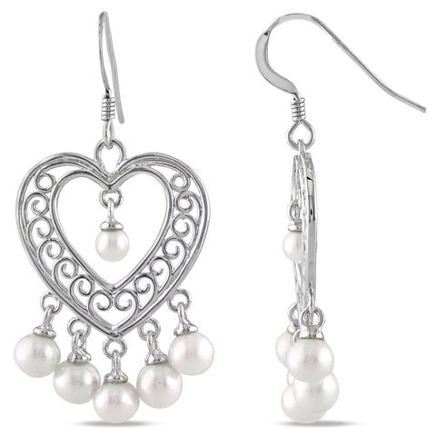 STERLING SILVER HEART SHAPE CHANDELIER EARRINGS WITH 3.5-5.5mm Freshwater Cultured PEARLS
