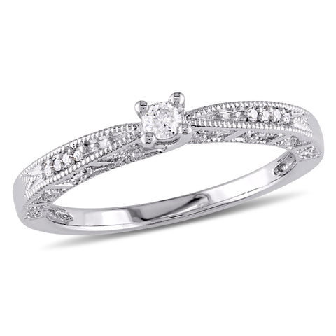 1/10 CT Diamond TW Engagement Ring Silver GH I2;I3