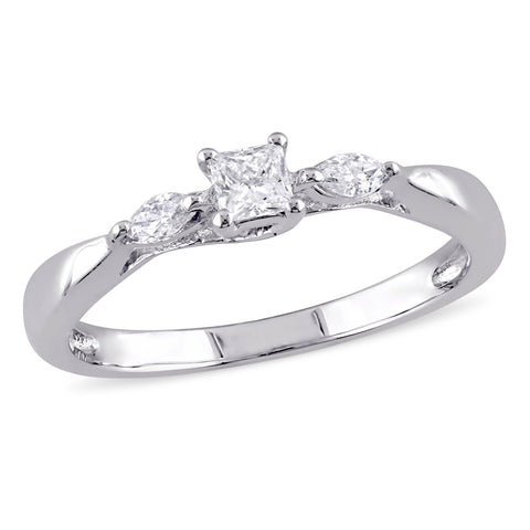 1/4 CT TW Princess and Marquise Cut Diamond Engagement Ring in 10k White Gold