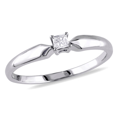 1/10 CT Princess Diamond TW Solitaire Ring Silver I3