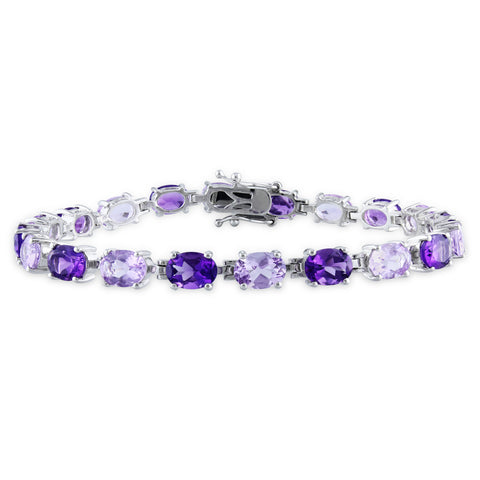 14 1/2 CT TGW Oval Amethyst-Africa and Rose de France Bracelet in Sterling Silver