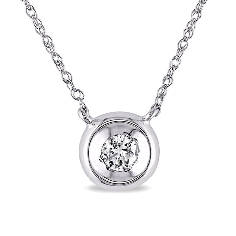 1/10 CT TW Diamond Solitaire Bezel-set Necklace in 10k Polished White Gold