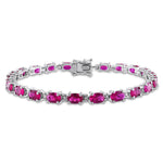 16 1/2 CT TGW Created Ruby Bracelet in Sterling Silver