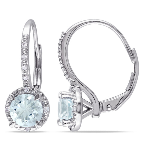 Aquamarine and Diamond Leverback Halo Earrings in Sterling Silver