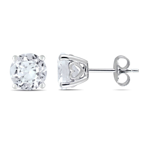 4 4/5 CT TGW Created White Sapphire Stud Earrings in Sterling Silver