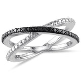 Black Diamond Crisscross Ring in Sterling Silver with Black Rhodium