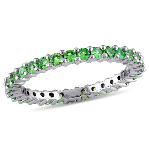 Tsavorite Eternity Band in 14k White Gold