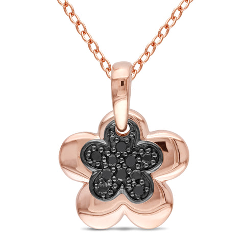 1/10 CT TW Black Diamond Floral Pendant with Chain in Rose Plated Sterling Silver with Black Rhodium