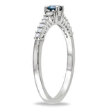 1/3 CT TW Blue and White Diamond Engagement Ring in Sterling Silver