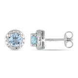 1.06 CT TGW Blue Topaz - Sky Ear Pin Earrings Silver
