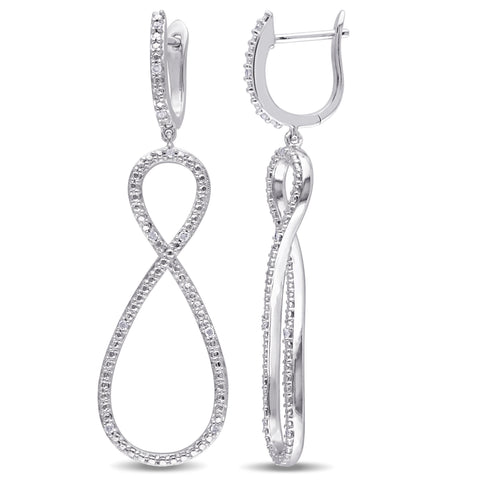 1/10 CT TW Diamond Infinity Earrings in Sterling Silver