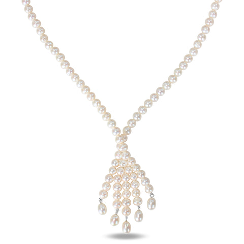 "17"" necklace of 6-6.5mm white potato pearls with 925 lobster clasp & 2"" extender chain"