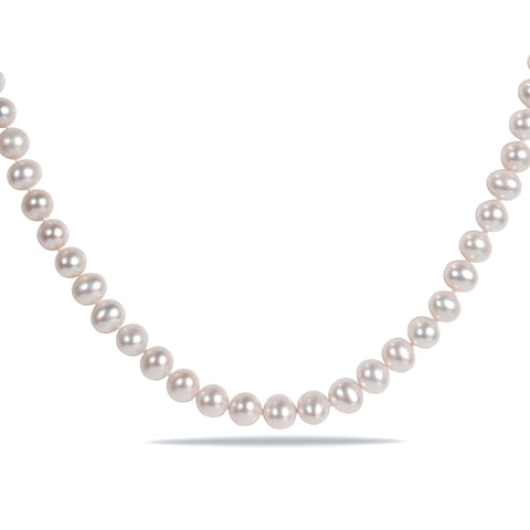 "16"" 6.5-7mm Freshwater Cultured Pearl Necklace w/ Silver Fish Eye Clasp"