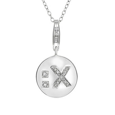 1/10 CT TW Diamond Emoticon Pendant with Chain in Sterling Silver