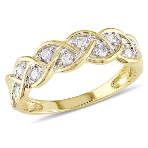 1/4 CT TW Pave Diamond Braided Anniversary Band in 10k Yellow Gold