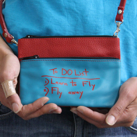 TURQUOISE/RED MINI CROSSBODY / TO-DO LIST