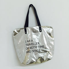SILVER ZIP TOP TOTE / TIME TRAVELLER