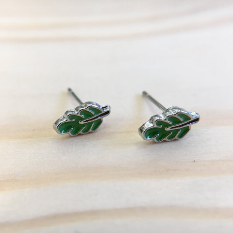 Teeny Green Leaf Earrings