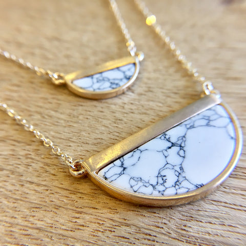 White Marble Layered Necklace