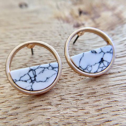 White Marble Round Earrings