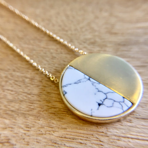 White Marble Half Circle Necklace