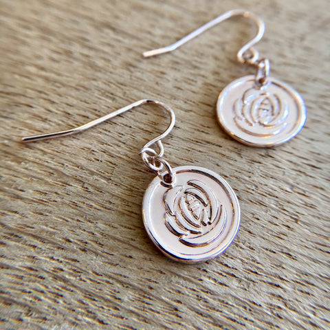 Rose Gold Rose Drop Earrings