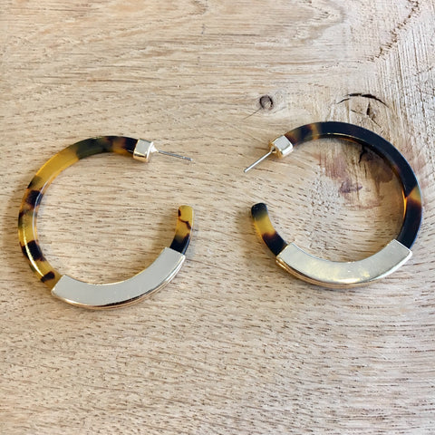Tortoiseshell & Gold Hoop Earrings