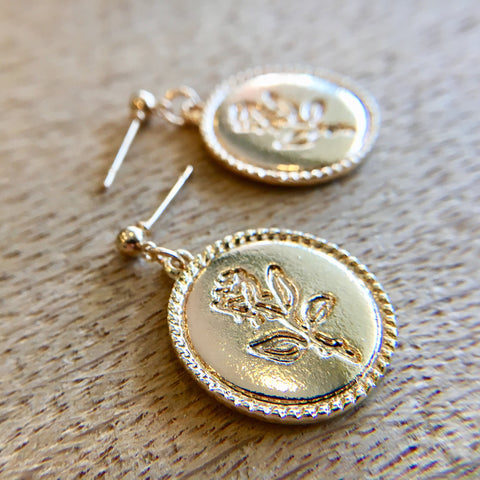 Rose Coin Drop Earring