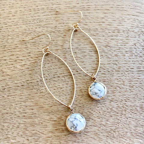 Rugged White Marble Oval Earrings