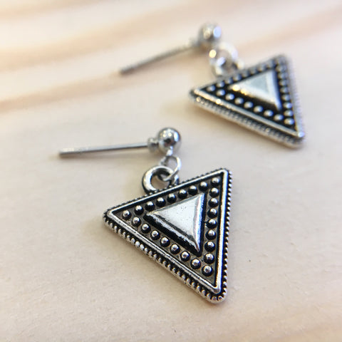 Textured Triangle Drop Earrings