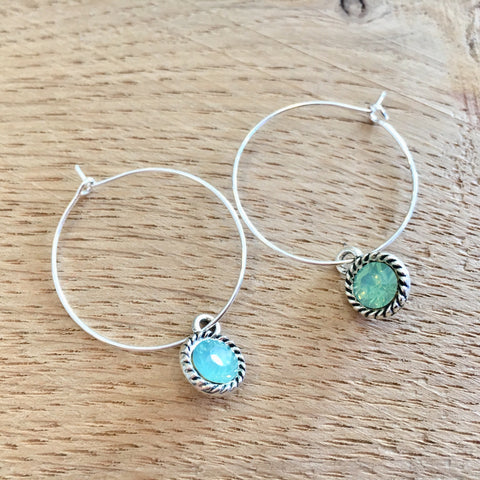 Twinkling Water Jewel Hoops