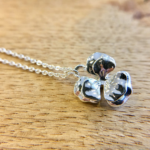 Silver Pansy Necklace