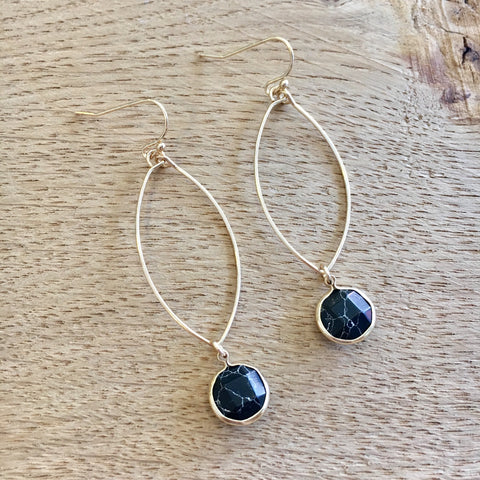 Rugged Black Marble Oval Earrings