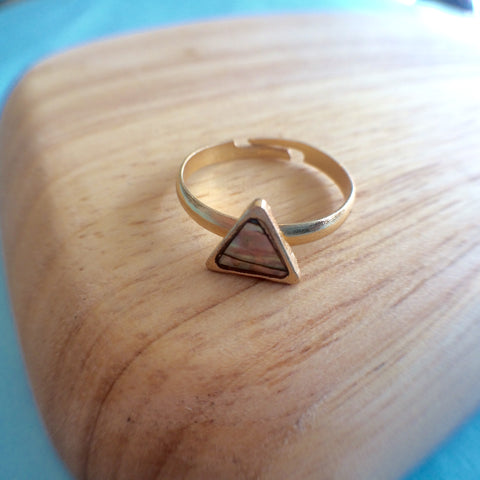 Triangle Mother of Pearl Ring