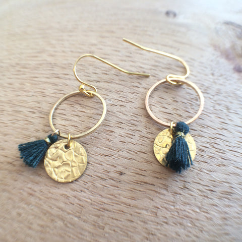 Spruce Tassel Coin Earrings