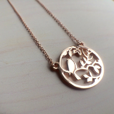Rose Gold Bird In A Tree Necklace