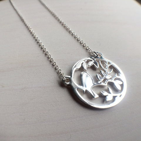 Silver Bird In A Tree Necklace