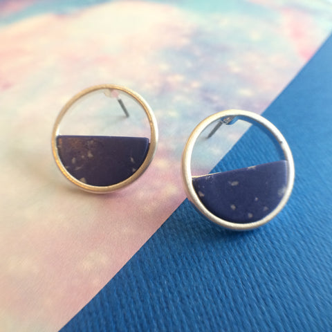 Royal Blue Marble Round Earrings