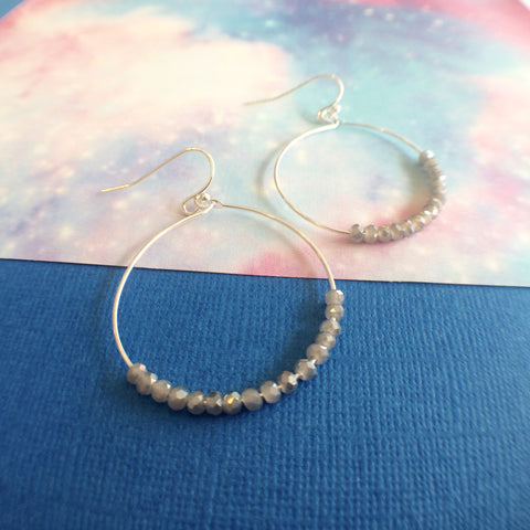 Stormy Beaded Hoop Earrings