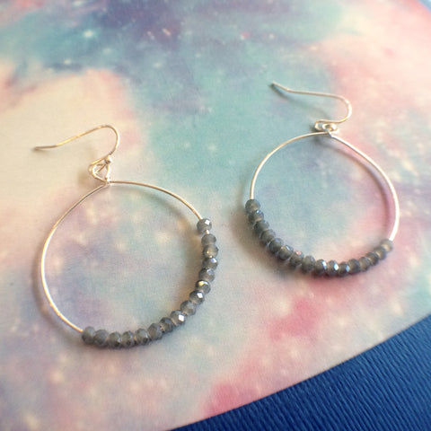 Steel Blue Beaded Hoop Earrings