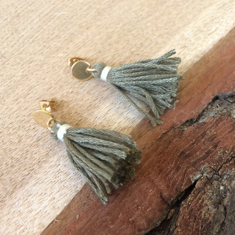 Sage Green Tassel Disc Earrings